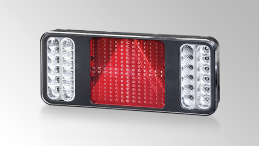 Full LED tail light, brake light, direction indicator, rear fog lamp, back-up light with a square reflex reflector from HELLA