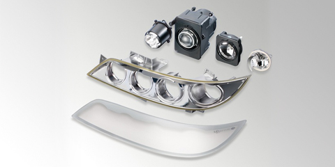 Exploded view of the modular, customer-specific module headlamp from HELLA