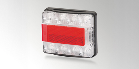 LED multi-function light 980 720…, with tail light, stop light and direction indicator, rectangular, by HELLA