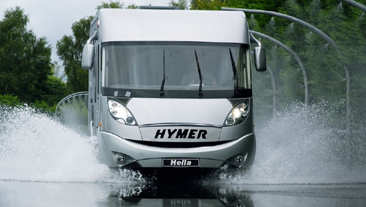 Testament to quality: Motorhome fitted with HELLA lights in splashwater test