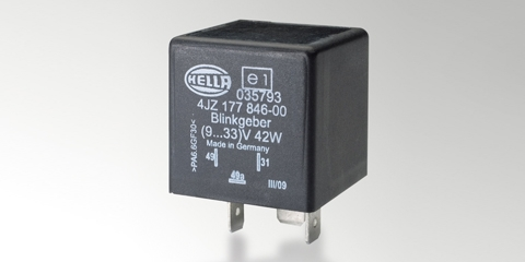 4DN LED flasher unit, in black plastic housing with blade terminals, from HELLA.