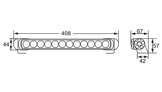 Strichzeichnung: LED Light Bar 350