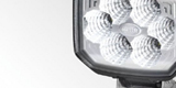 Detail of a sturdy work light for trucks by HELLA