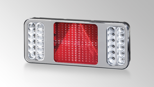 "Design-forward, full-LED ""COLUNA"" rear combination lamp with silver frame from HELLA"