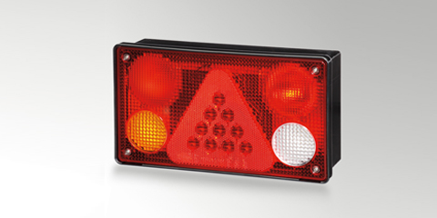 Full LED taillight, brake light, direction indicator, rear fog lamp, reversing light with a square reflex reflector from HELLA
