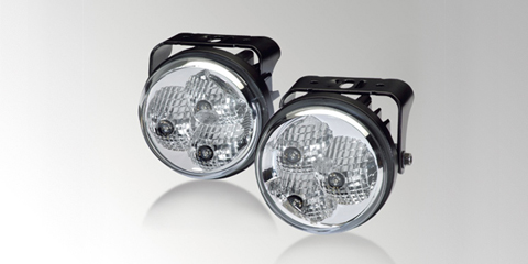 Set of LED daytime running lights, round, with power LEDs and individual precision reflectors, by HELLA
