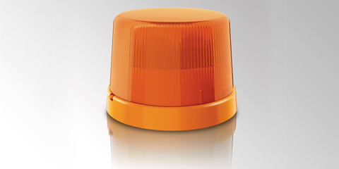 Highly resistant KL Rotaflex/Rotafix resilient rotating beacon, yellow, by HELLA
