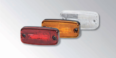 Modern LED side marker, position and clearance light (345.600) with integrated reflex reflector from HELLA